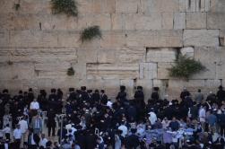 Ağlama Duvarında ibadet edenler