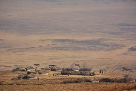 Ngorongoro'da az da olsa insan yerleşimi bulunuyor